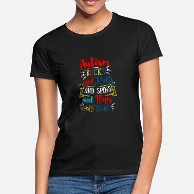 Autism Autism Awareness Rocks And Rolls Autism Mom - Women's T-Shirt
