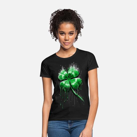 St Patricks Day T-Shirts - Four Leaf Clover - Women's T-Shirt black