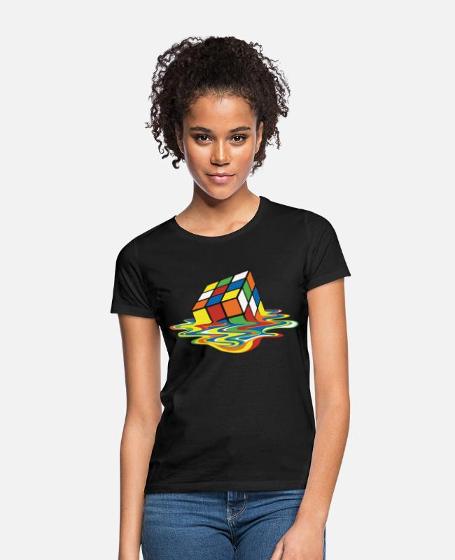 The Best Of T-shirts - Rubik's Cube Melted Colourful Puddle - T-shirt dame sort