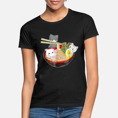 Animal Chats Japon Ramen Anime - T-shirt Femme