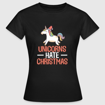 Unicorns Hate Christmas Funny Hater Anti Xmas - T-skjorte for kvinner