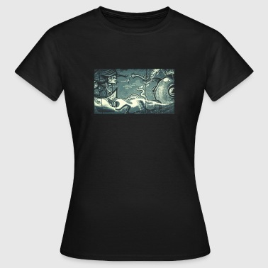 Street Art Octopus Fight - Dark - Women's T-Shirt