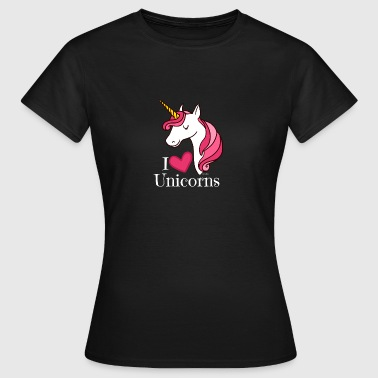 I Love Unicorns T Shirt - Heart Tee in White - Women's T-Shirt