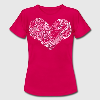 White Leaf Heart Mandala - Women's T-Shirt