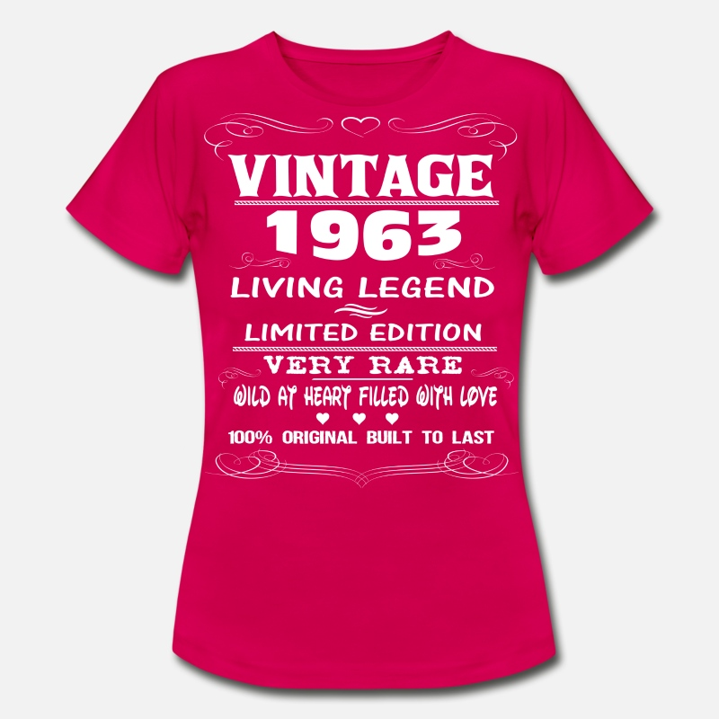 1963 All Original Parts T-Shirts - VINTAGE 1963-LIVING LEGEND - Women's T-Shirt ruby red