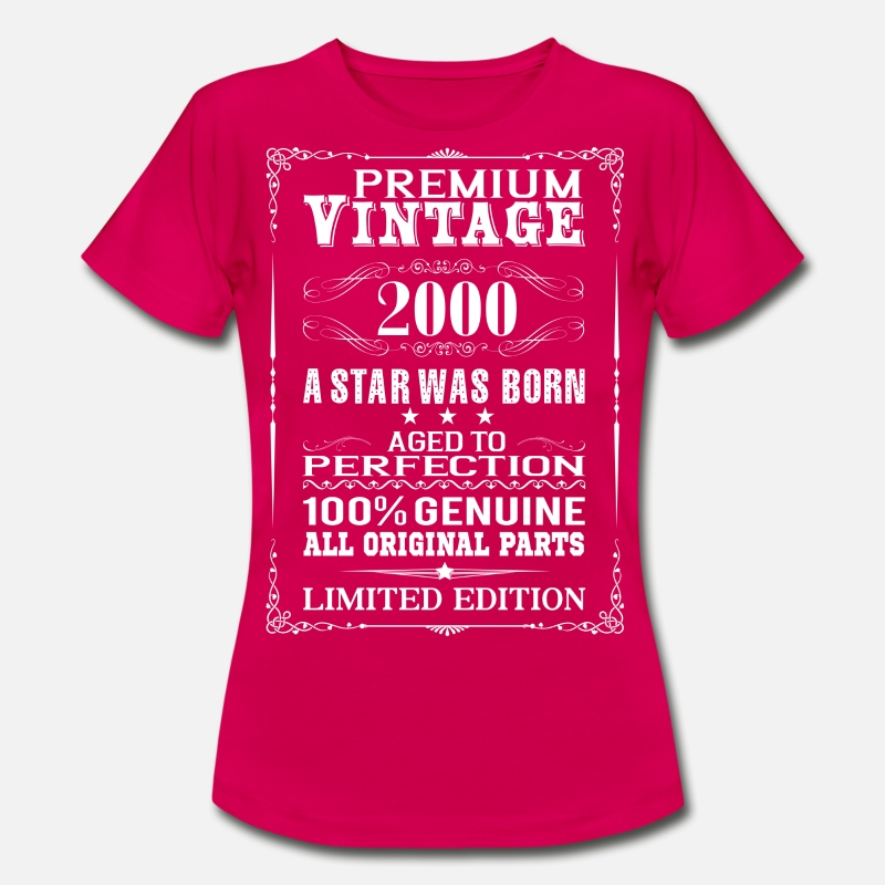 2000 T-Shirts - PREMIUM VINTAGE 2000 - Women's T-Shirt ruby red