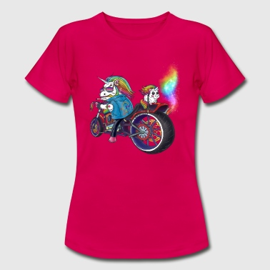 Unshaven Alpha unicorn on cool motorcycle with rainbow - Women's T-Shirt