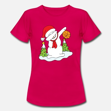 Basket Divertente Dabbing Snowman with Christmas Christmas di pallacanestro  - Maglietta donna 10294aacb602
