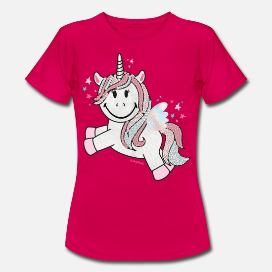 Officialbrands T-shirts - SmileyWorld Unicorn - Vrouwen T-shirt robijnrood