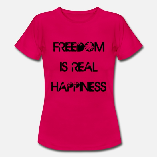 Joie T-shirts - freedom is real happinness - T-shirt Femme rouge rubis