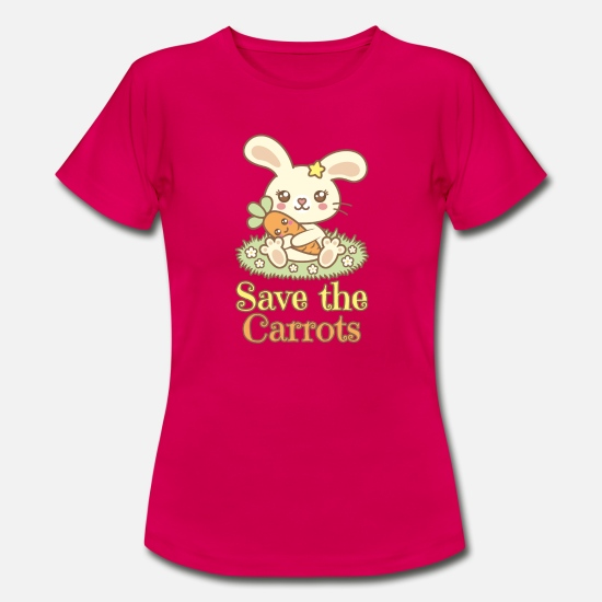 "Vegetarier T-Shirts - Hase mit Möhre im Kawaii Stil: ""Save the Carrots"" - Frauen T-Shirt Rubinrot"