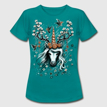 Deer Unicorn Flowers - Women's T-Shirt