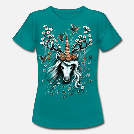 Nice T-Shirts - Deer Unicorn Flowers - Women's T-Shirt diva blue