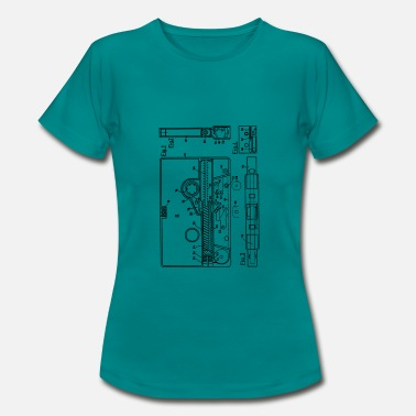 Technical Drawing Blueprint of a cassette - Vintage Music Design - Women's T-Shirt