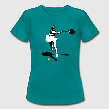 Tennisspiller backhand silhouette - T-skjorte for kvinner