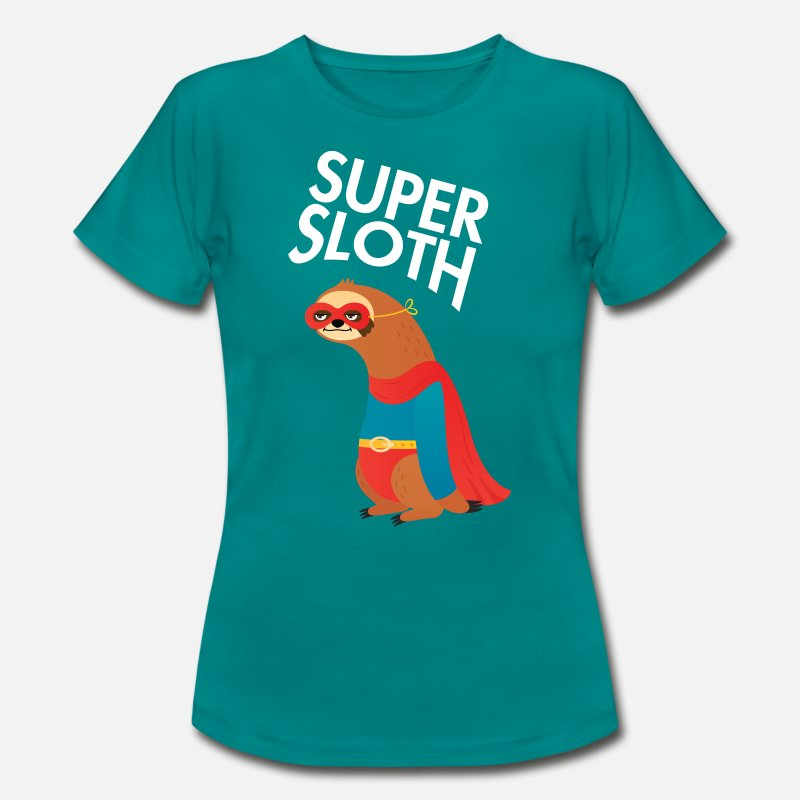 Cadeauidee T-Shirts - Sloth Superhero - Vrouwen T-shirt divablauw