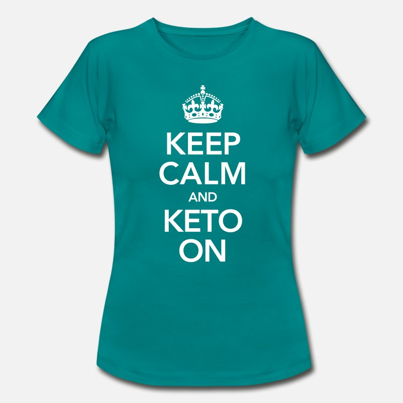 Keto T-Shirts - Keep Calm And Keto On - Women's T-Shirt diva blue