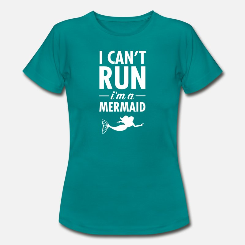 Gezegde T-Shirts - I Can't Run - I'm A Mermaid - Vrouwen T-shirt divablauw