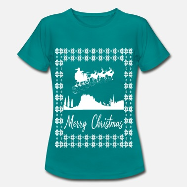 Merry Christmas 2 Santa Claus with reindeer - Women's T-Shirt