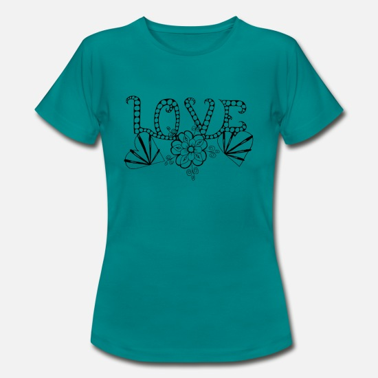 Love T-Shirts - Love lettering Zentangle - Women's T-Shirt diva blue
