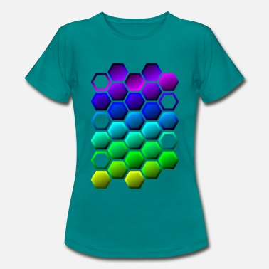 Vibrant Colorful hexagon pattern - Rainbow hexagon - Women's T-Shirt