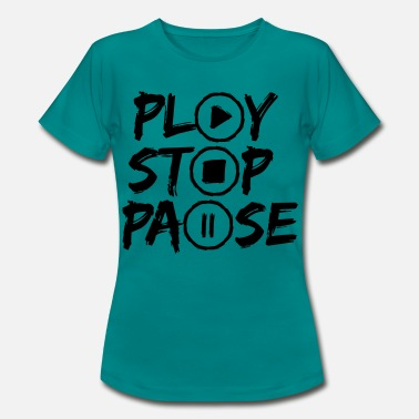 Stop design play stop break music buttons circles rings - Women's T-Shirt