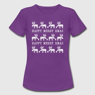 Happy White Deers Merry Xmas - Dame-T-shirt