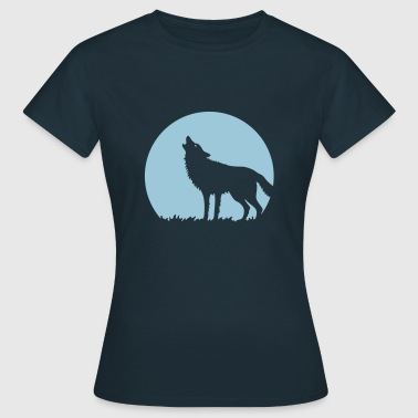 Howling Wolf At Full Moon (1C) - Women's T-Shirt