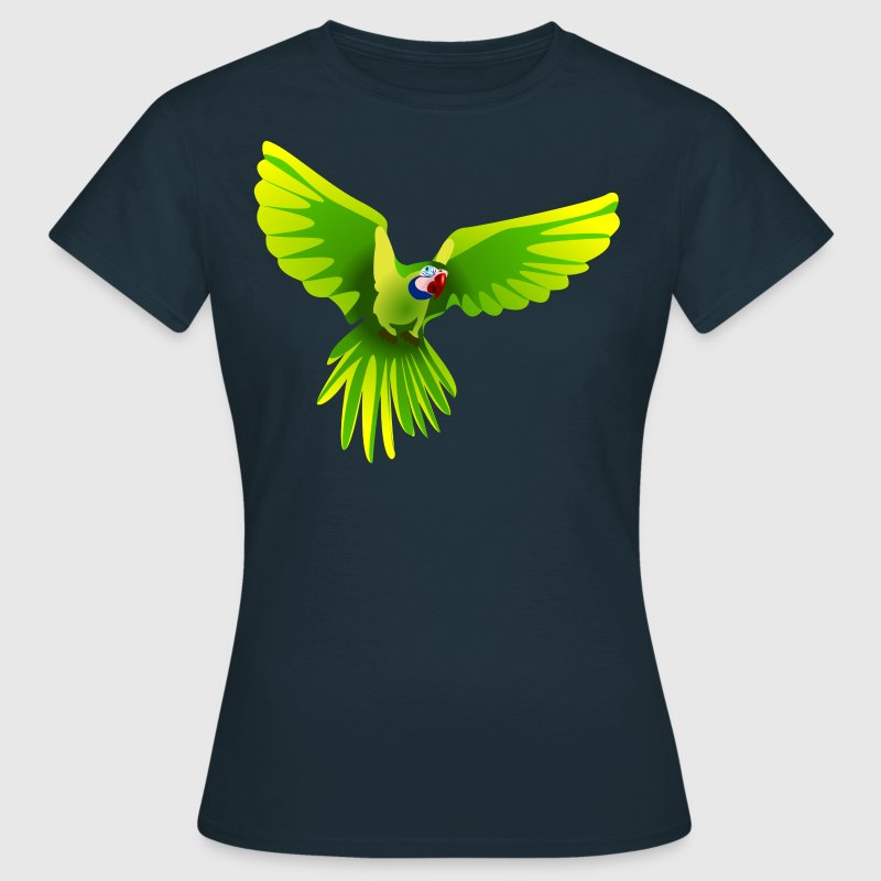 Ara fliegt grün - flying green Ara - Dame-T-shirt