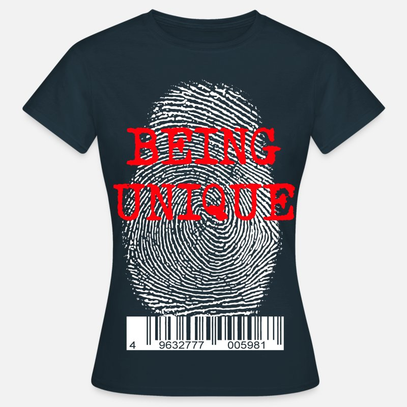 Popart T-Shirts - finger print - Frauen T-Shirt Navy