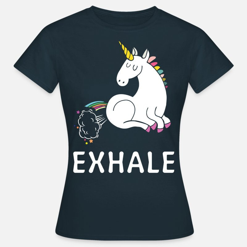 Unicorn T-Shirts - Exhale Unicorn - Women's T-Shirt navy