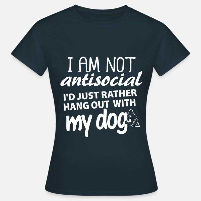 Dog T-Shirts -  I'd just rather hang out with my dog - Women's T-Shirt navy