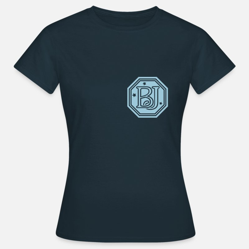 Initial T-Shirts - BJ  monogram initial letters - Women's T-Shirt navy
