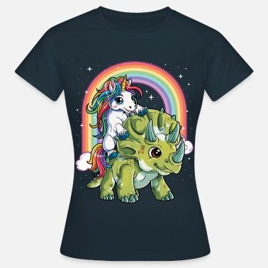 Rainbow Unicorn Riding Dinosaur Triceratops Party Rainbow - Women's T-Shirt