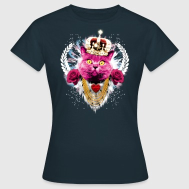 Pink Cat the King - red roses rote Rosen Krone Crown - Frauen T-Shirt
