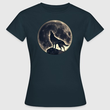 Lobo, luna llena, wolf, full moon, wolves, native, - Camiseta mujer