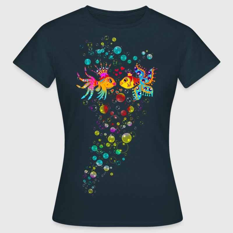 Bubble Love, Fish, water, heart, holiday, sea,  - Women's T-Shirt