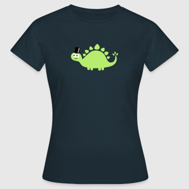 Funny cute dinosaur with cylinder (hat) - T-shirt Femme