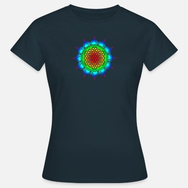 Chakra Flower of life, Lotus-Flower, Heart Chakra, Rainbow, energy symbol, healing symbol - Women's T-Shirt