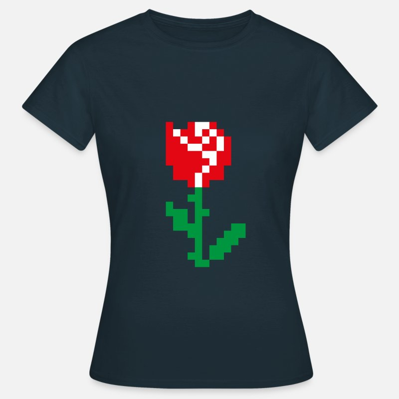 Pixel T-Shirts - Pixel rose - Women's T-Shirt navy
