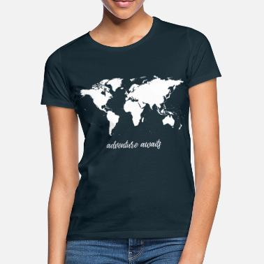 Carte l'aventure vous attend - carte du monde - T-shirt Femme