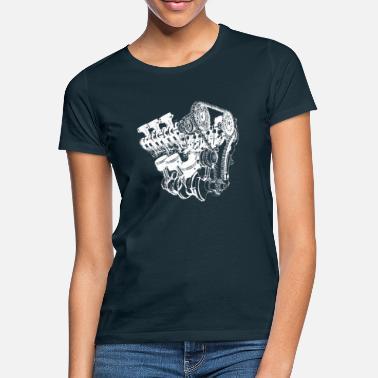 0c8ede6aeb5c2 Motor Motor motor cilindro de potencia carro - Camiseta mujer