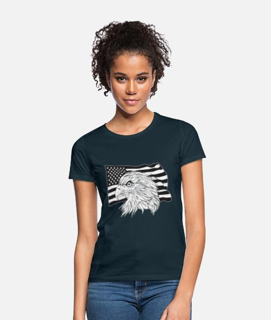 New York City T-Shirts - American Flag with American Eagle - Women's T-Shirt navy