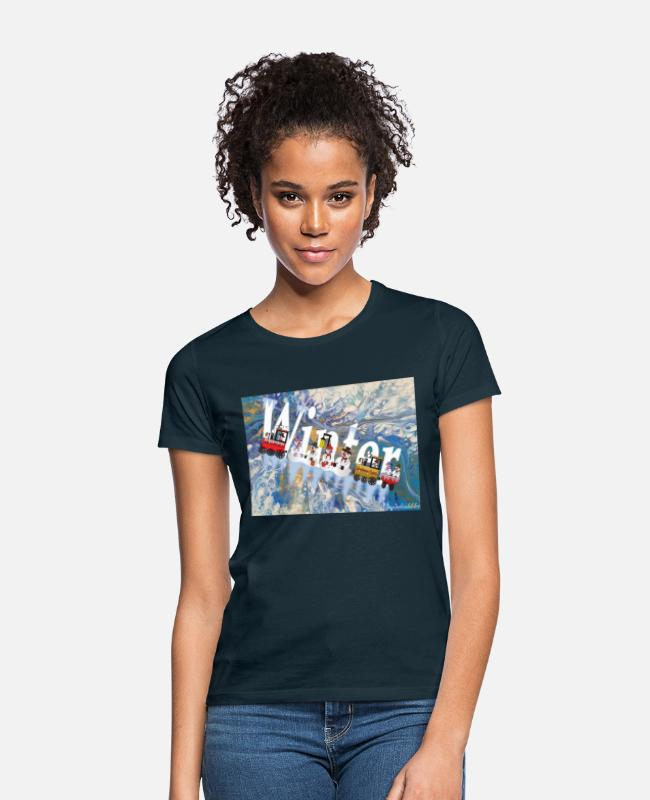 Christmas T-Shirts - Nature soul pictures - Snowman Express at the North Pole - Women's T-Shirt navy