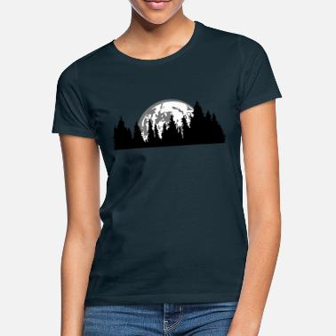 Conifer moon night full moon setting tree forest conifer - Women's T-Shirt