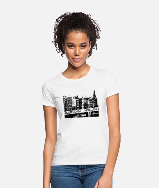 Travel Bug T-Shirts - Amsterdam Canal, houses and boat Holland - Women's T-Shirt white
