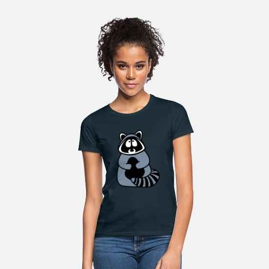 Fur T-Shirts - raccoon - Women's T-Shirt navy