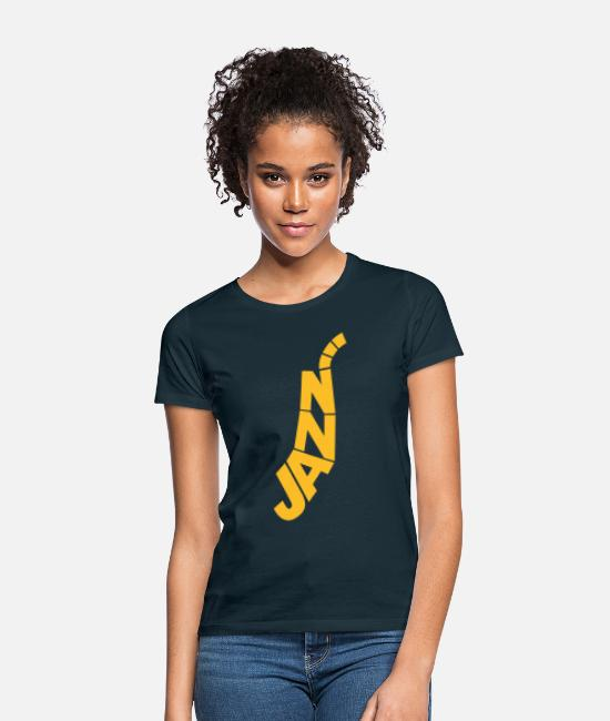 Bebop T-Shirts - Jazz - Saxophon - Frauen T-Shirt Navy