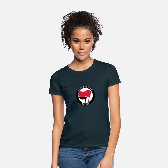 Anti Nazis Camisetas - Anti-Fascist Action - Camiseta mujer azul marino