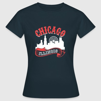 Chicago Illinois Vintage By - Dame-T-shirt